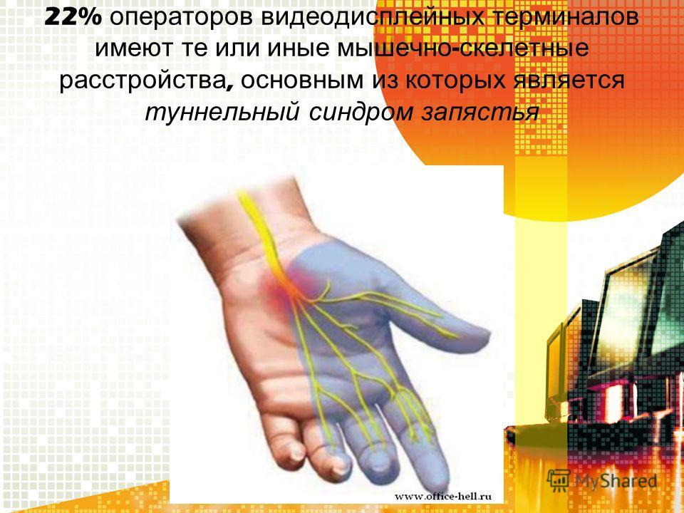 22% операторов видеодисплейных терминалов имеют те или иные мышечно - скелетные расстройства, основным из которых является туннельный синдром запястья