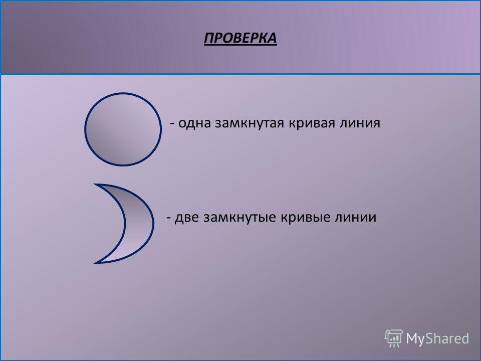ПРОВЕРКА - одна замкнутая кривая линия - две замкнутые кривые линии