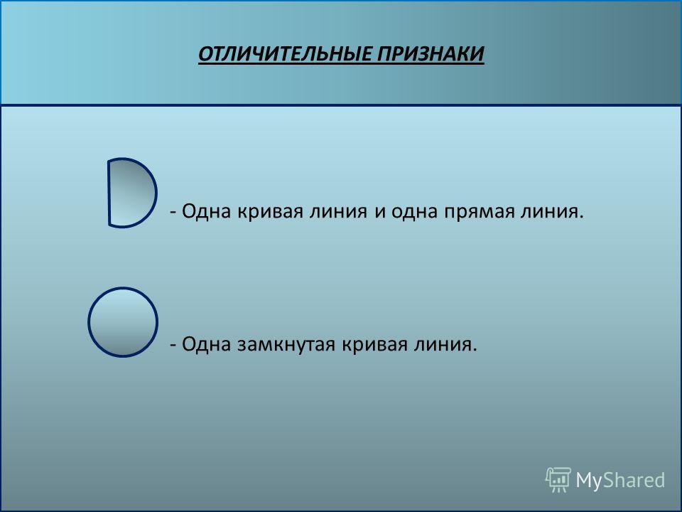 ОТЛИЧИТЕЛЬНЫЕ ПРИЗНАКИ - Одна кривая линия и одна прямая линия. - Одна замкнутая кривая линия.