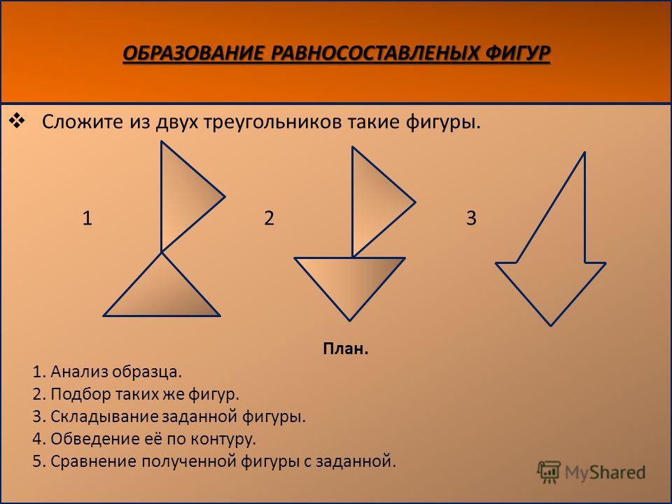 ОБРАЗОВАНИЕ РАВНОСОСТАВЛЕНЫХ ФИГУР Сложите из двух треугольников такие фигуры. 1 2 3 План. 1. Анализ образца. 2. Подбор таких же фигур. 3. Складывание заданной фигуры. 4. Обведение её по контуру. 5. Сравнение полученной фигуры с заданной.