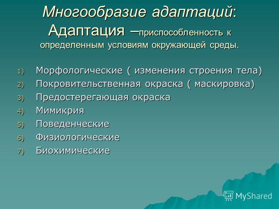 Многообразие адаптаций: Адаптация – приспособленность к определенным условиям окружающей среды. 1) Морфологические ( изменения строения тела) 2) Покровительственная окраска ( маскировка) 3) Предостерегающая окраска 4) Мимикрия 5) Поведенческие 6) Физ