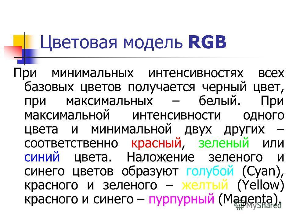 Цветовая модель RGB При минимальных интенсивностях всех базовых цветов получается черный цвет, при максимальных – белый. При максимальной интенсивности одного цвета и минимальной двух других – соответственно красный, зеленый или синий цвета. Наложени