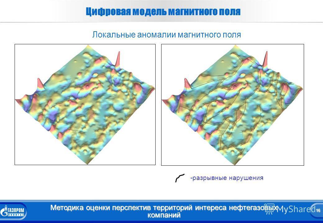 16 Методика оценки перспектив территорий интереса нефтегазовых компаний 16 Цифровая модель магнитного поля -разрывные нарушения Локальные аномалии магнитного поля