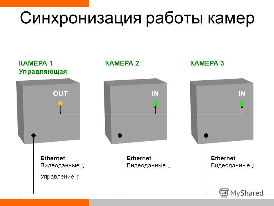 Синхронизация работы камер КАМЕРА 1 Управляющая КАМЕРА 2КАМЕРА 3 Ethernet Видеоданные Управление Ethernet Видеоданные OUTIN
