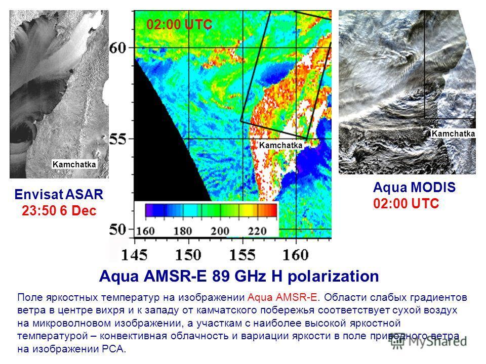 Поле яркостных температур на изображении Aqua AMSR-E. Области слабых градиентов ветра в центре вихря и к западу от камчатского побережья соответствует сухой воздух на микроволновом изображении, а участкам с наиболее высокой яркостной температурой – к