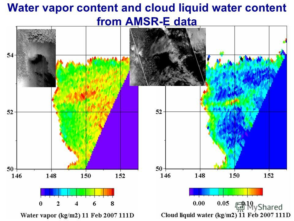 Water vapor content and cloud liquid water content from AMSR-E data