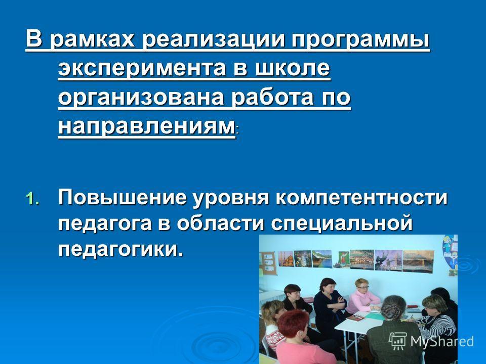 В рамках реализации программы эксперимента в школе организована работа по направлениям : 1. Повышение уровня компетентности педагога в области специальной педагогики.