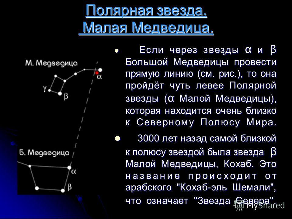Полярная звезда. Малая Медведица. Если через звезды α и β Большой Медведицы провести прямую линию (см. рис.), то она пройдёт чуть левее Полярной звезды ( α Малой Медведицы), которая находится очень близко к Северному Полюсу Мира. Если через звезды α