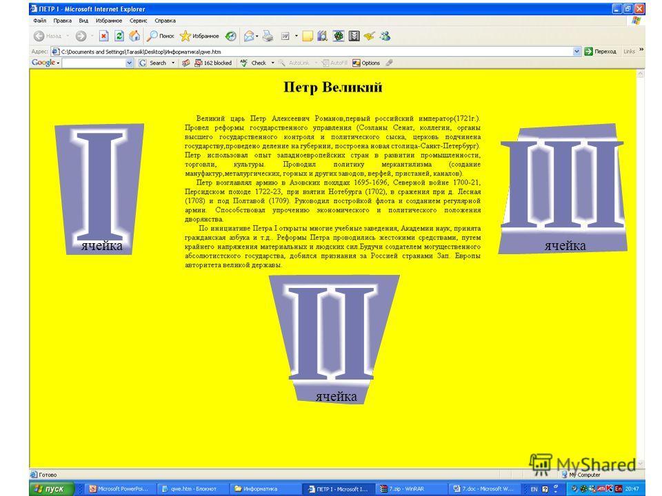 Минимальный набор тегов для описания таблицы включает парные теги таблицы, строки и ячейки ( ширина и высота таблицы атрибуты width и height могут иметь значение в процентах и пикселах)