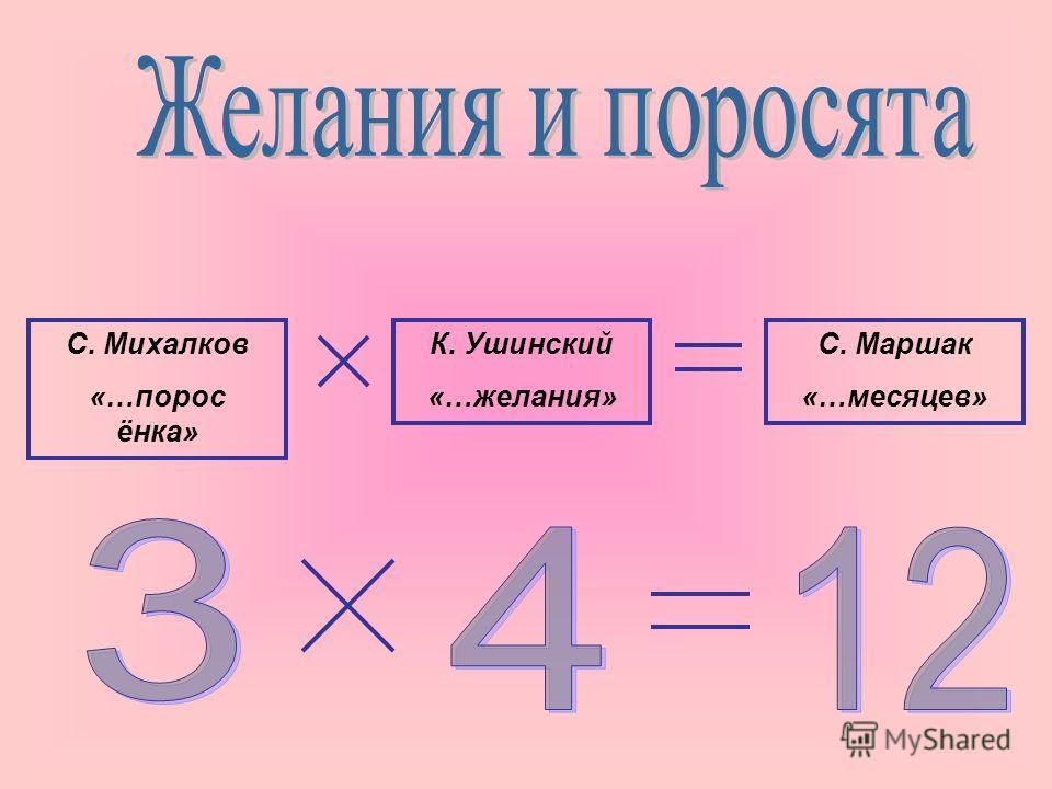 С. Михалков «…порос ёнка» К. Ушинский «…желания» С. Маршак «…месяцев»