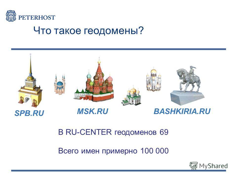 В RU-CENTER геодоменов 69 Всего имен примерно 100 000 Что такое геодомены? SPB.RU MSK.RUBASHKIRIA.RU