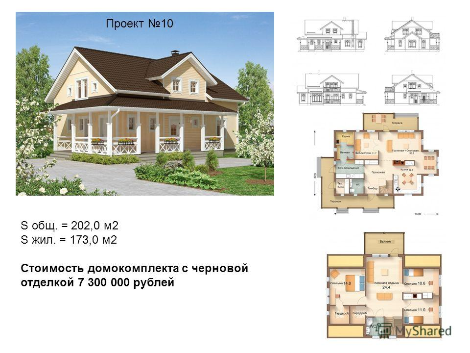 Проект 10 S общ. = 202,0 м2 S жил. = 173,0 м2 Стоимость домокомплекта с черновой отделкой 7 300 000 рублей