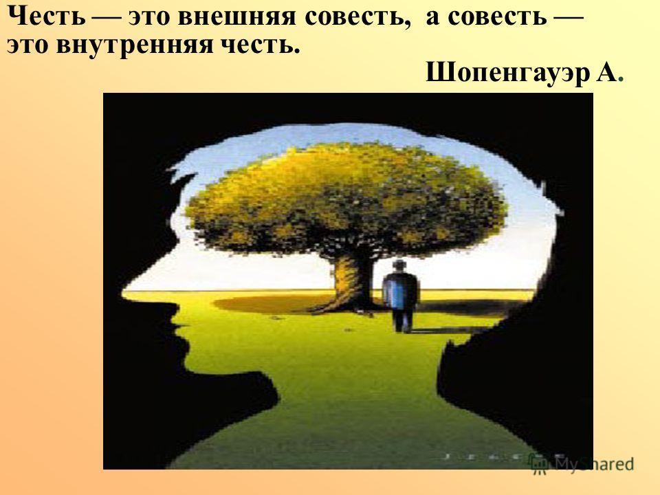 Честь это внешняя совесть, а совесть это внутренняя честь. Шопенгауэр А.