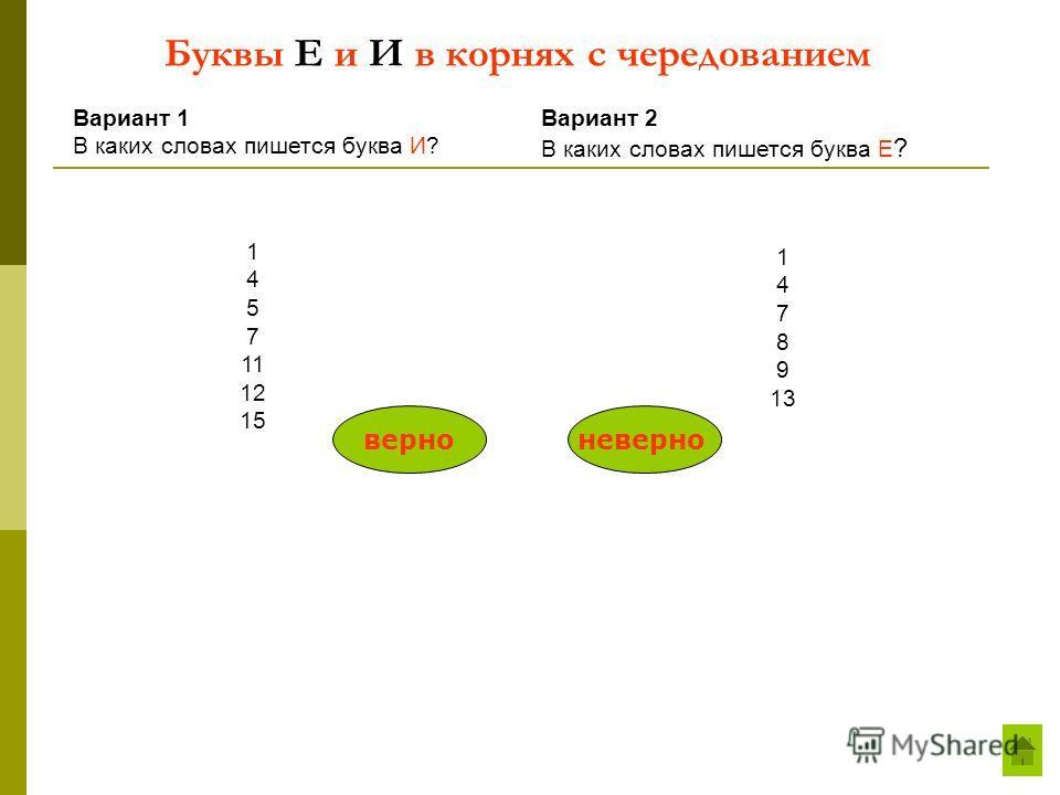 Буквы Е и И в корнях с чередованием Вариант 1 В каких словах пишется буква И? Вариант 2 В каких словах пишется буква Е ? 1 4 5 7 11 12 15 1 4 7 8 9 13 верноневерно