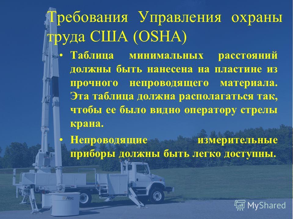 Требования Управления охраны труда США (OSHA) Таблица минимальных расстояний должны быть нанесена на пластине из прочного непроводящего материала. Эта таблица должна располагаться так, чтобы ее было видно оператору стрелы крана. Непроводящие измерите