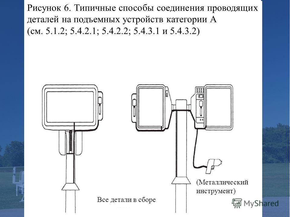 Рисунок 6. Типичные способы соединения проводящих деталей на подъемных устройств категории А (см. 5.1.2; 5.4.2.1; 5.4.2.2; 5.4.3.1 и 5.4.3.2) (Металлический инструмент) Все детали в сборе