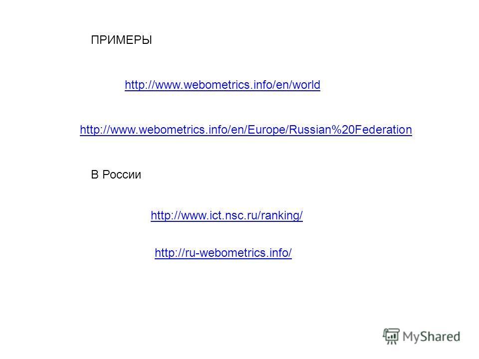 http://www.webometrics.info/en/world http://www.webometrics.info/en/Europe/Russian%20Federation ПРИМЕРЫ http://www.ict.nsc.ru/ranking/ http://ru-webometrics.info/ В России