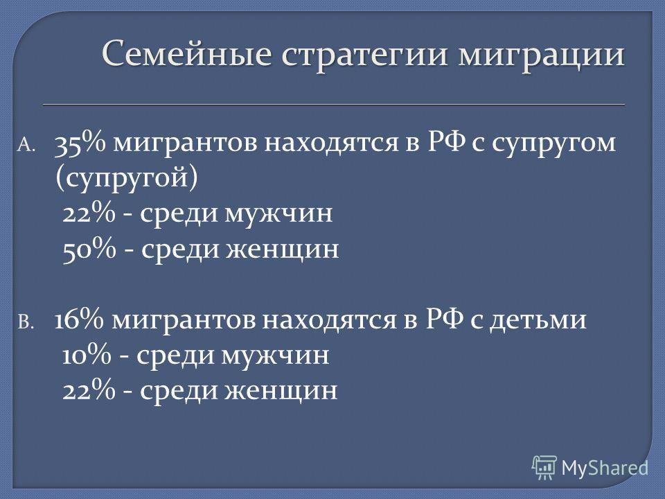 Семейные стратегии миграции A. 35% мигрантов находятся в РФ с супругом (супругой) 22% - среди мужчин 50% - среди женщин B. 16% мигрантов находятся в РФ с детьми 10% - среди мужчин 22% - среди женщин