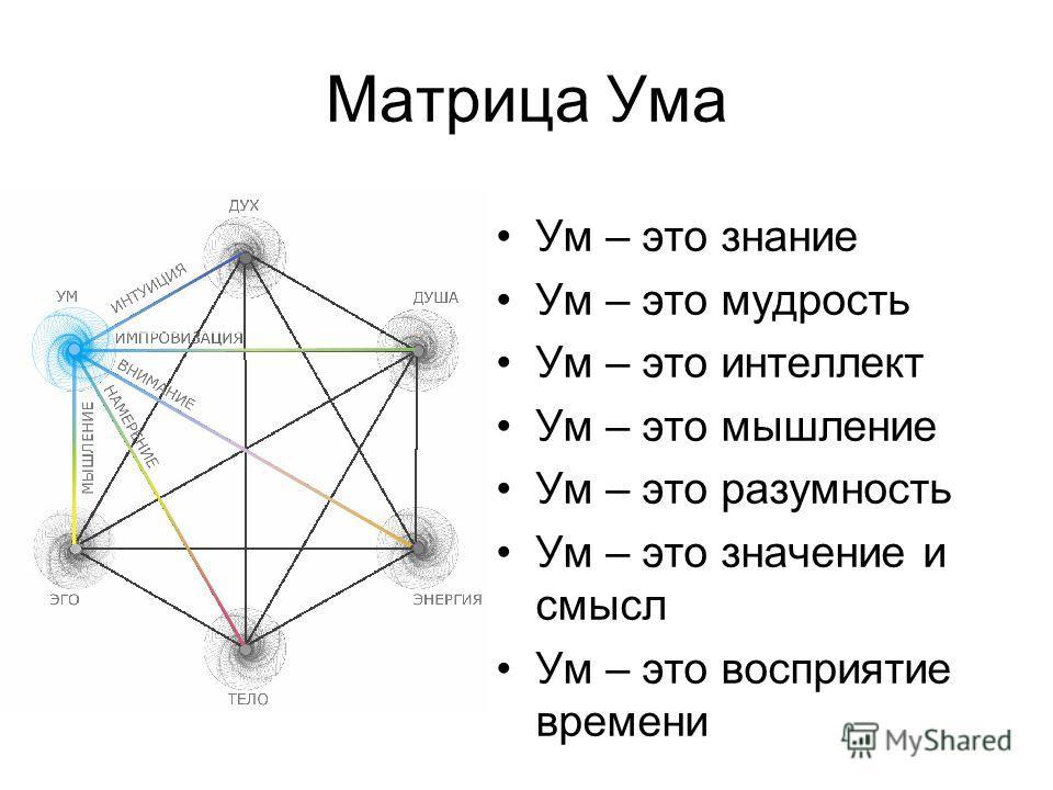 Ум – это знание Ум – это мудрость Ум – это интеллект Ум – это мышление Ум – это разумность Ум – это значение и смысл Ум – это восприятие времени