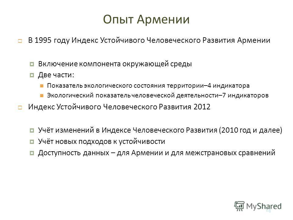 14 Опыт Армении В 1995 году Индекс Устойчивого Человеческого Развития Армении Включение компонента окружающей среды Две части : Показатель экологического состояния территории –4 индикатора Экологический показатель человеческой деятельности –7 индикат