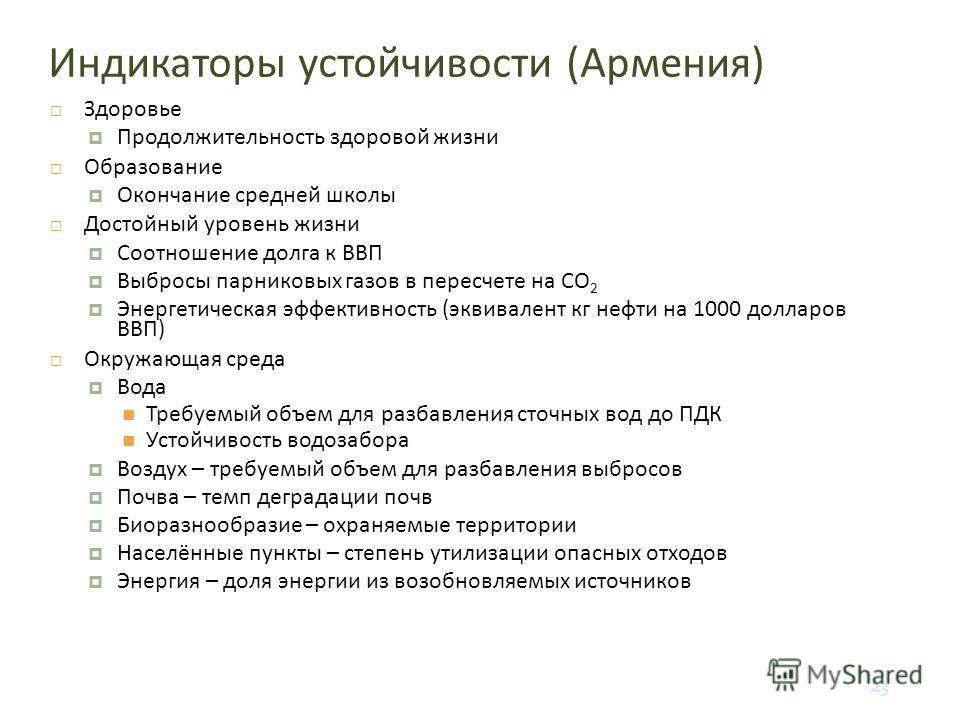 23 Индикаторы устойчивости ( Армения ) Здоровье Продолжительность здоровой жизни Образование Окончание средней школы Достойный уровень жизни Соотношение долга к ВВП Выбросы парниковых газов в пересчете на CO 2 Энергетическая эффективность ( эквивален