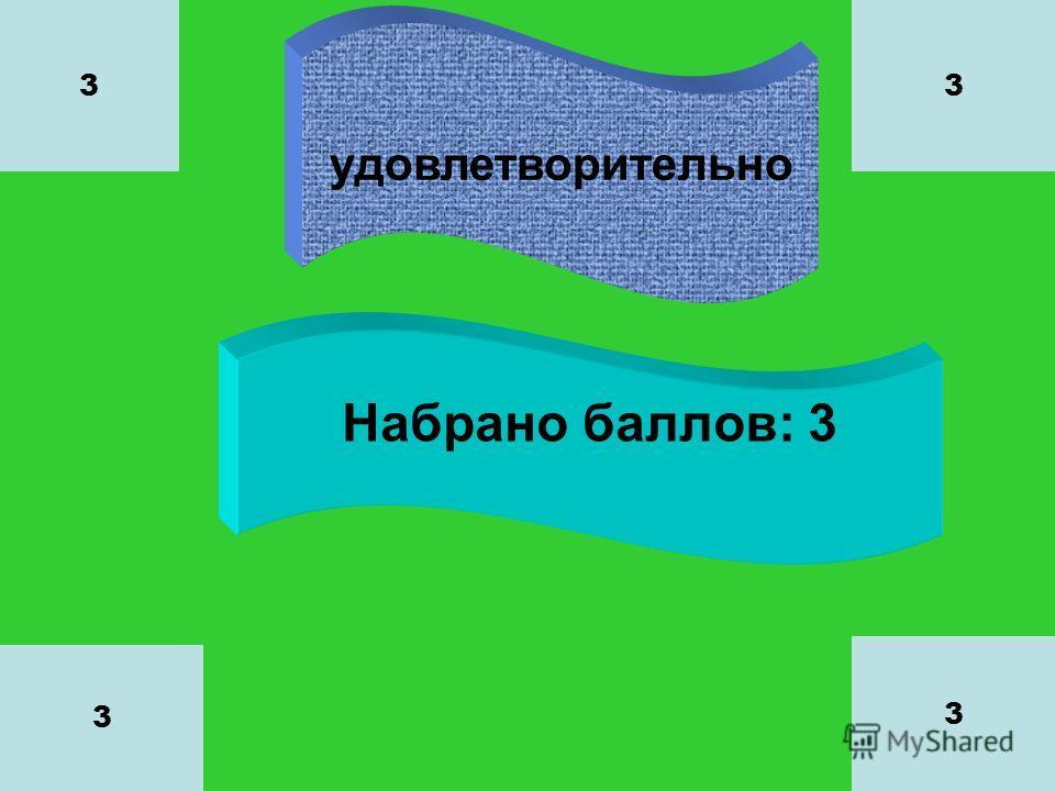 удовлетворительно Набрано баллов: 3 3 3 3 3