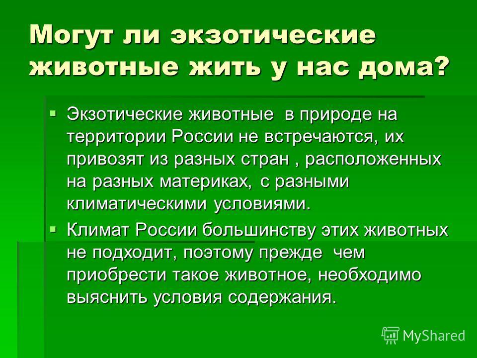 Могут ли экзотические животные жить у нас дома? Экзотические животные в природе на территории России не встречаются, их привозят из разных стран, расположенных на разных материках, с разными климатическими условиями. Экзотические животные в природе н