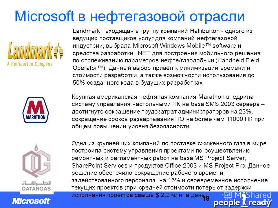 CONFIDENTIAL 1919 Microsoft в нефтегазовой отрасли Landmark, входящая в группу компаний Halliburton - одного из ведущих поставщиков услуг для компаний нефтегазовой индустрии, выбрала Microsoft Windows Mobile software и средства разработки.NET для пос