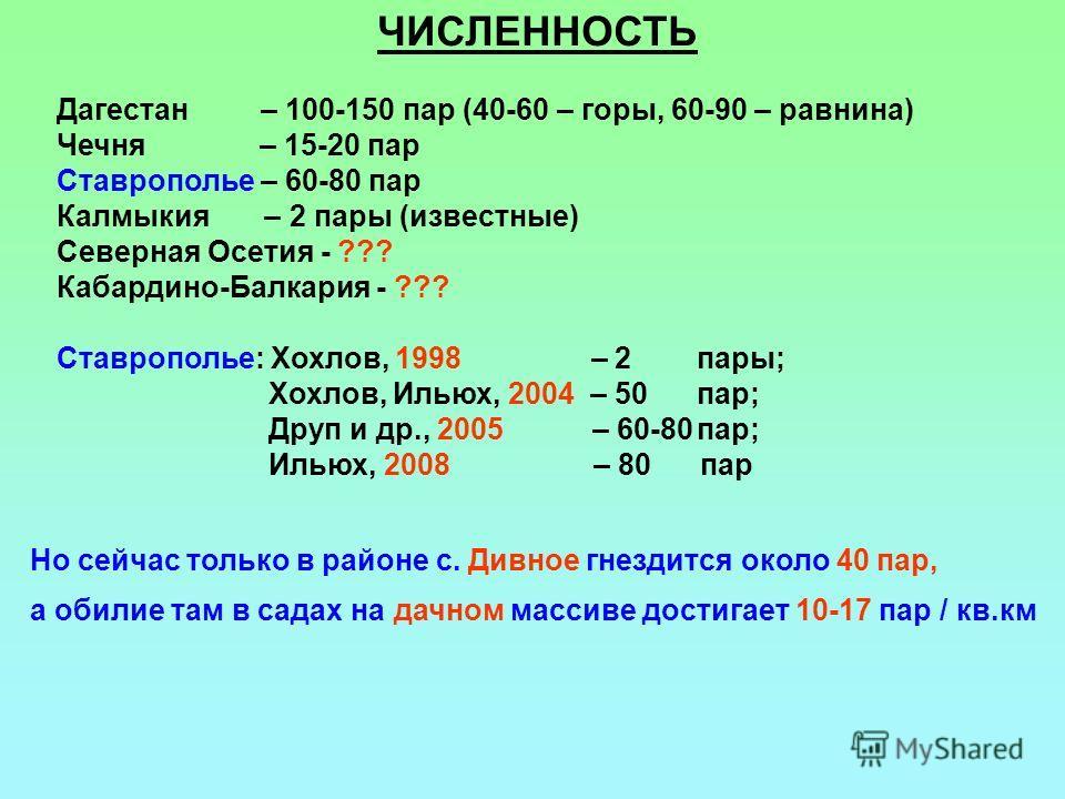 ЧИСЛЕННОСТЬ Дагестан – 100-150 пар (40-60 – горы, 60-90 – равнина) Чечня – 15-20 пар Ставрополье – 60-80 пар Калмыкия – 2 пары (известные) Северная Осетия - ??? Кабардино-Балкария - ??? Ставрополье: Хохлов, 1998 – 2 пары; Хохлов, Ильюх, 2004 – 50 пар