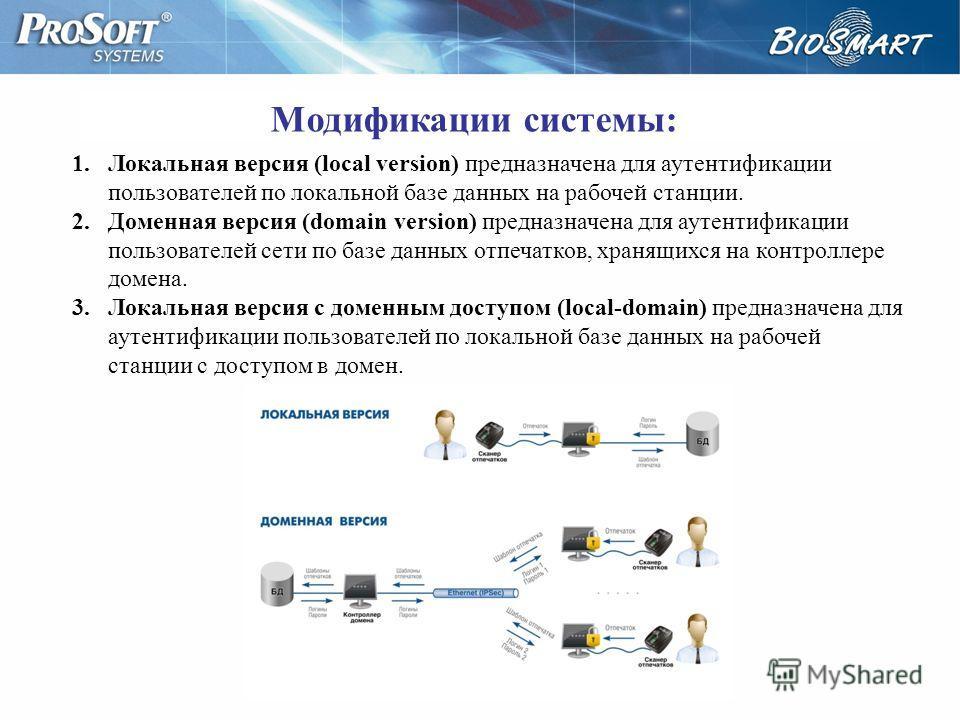 1.Локальная версия (local version) предназначена для аутентификации пользователей по локальной базе данных на рабочей станции. 2.Доменная версия (domain version) предназначена для аутентификации пользователей сети по базе данных отпечатков, хранящихс