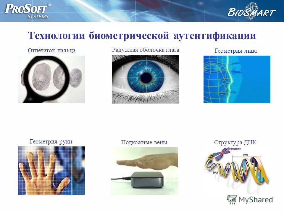 Технологии биометрической аутентификации Отпечаток пальца Геометрия руки Радужная оболочка глаза Геометрия лица Подкожные веныСтруктура ДНК