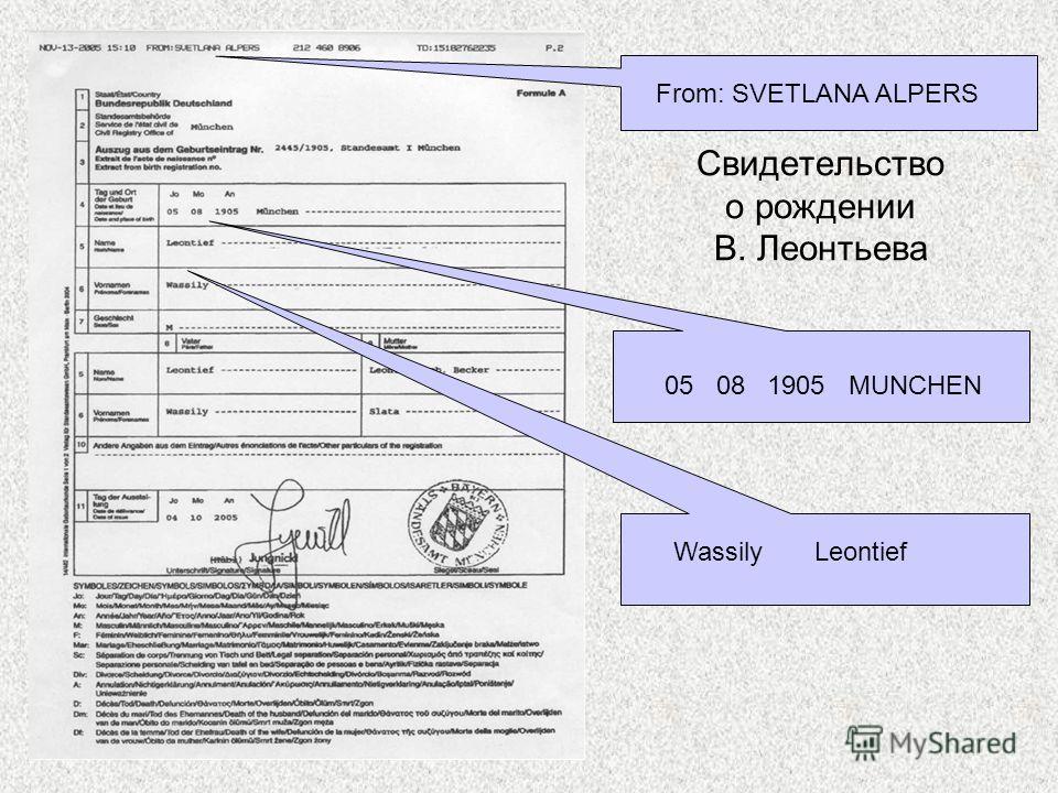 Свидетельство о рождении В. Леонтьева From: SVETLANA ALPERS 05 08 1905 MUNCHEN Wassily Leontief