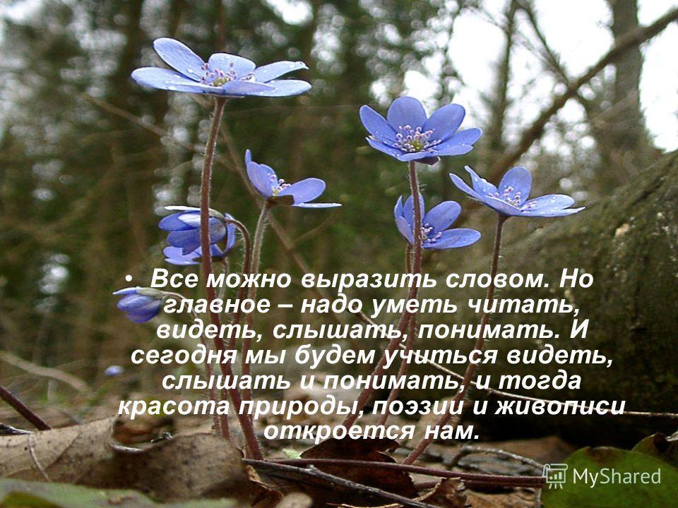 Все можно выразить словом. Но главное – надо уметь читать, видеть, слышать, понимать. И сегодня мы будем учиться видеть, слышать и понимать, и тогда красота природы, поэзии и живописи откроется нам.