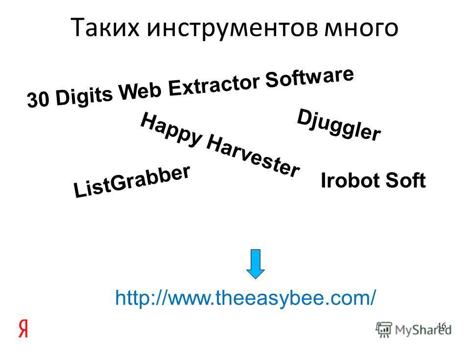 Таких инструментов много 46 30 Digits Web Extractor Software Djuggler Happy Harvester Irobot Soft ListGrabber http://www.theeasybee.com/