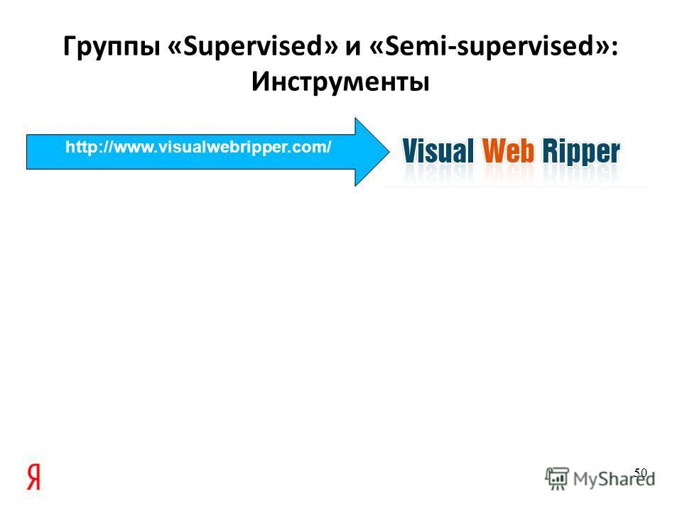 Группы «Supervised» и «Semi-supervised»: Инструменты 50 http://www.visualwebripper.com/