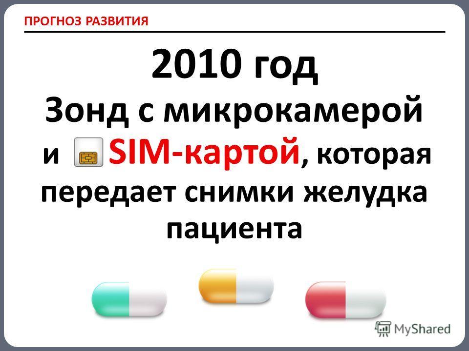 ПРОГНОЗ РАЗВИТИЯ 2010 год Зонд с микрокамерой и SIM-картой, которая передает снимки желудка пациента