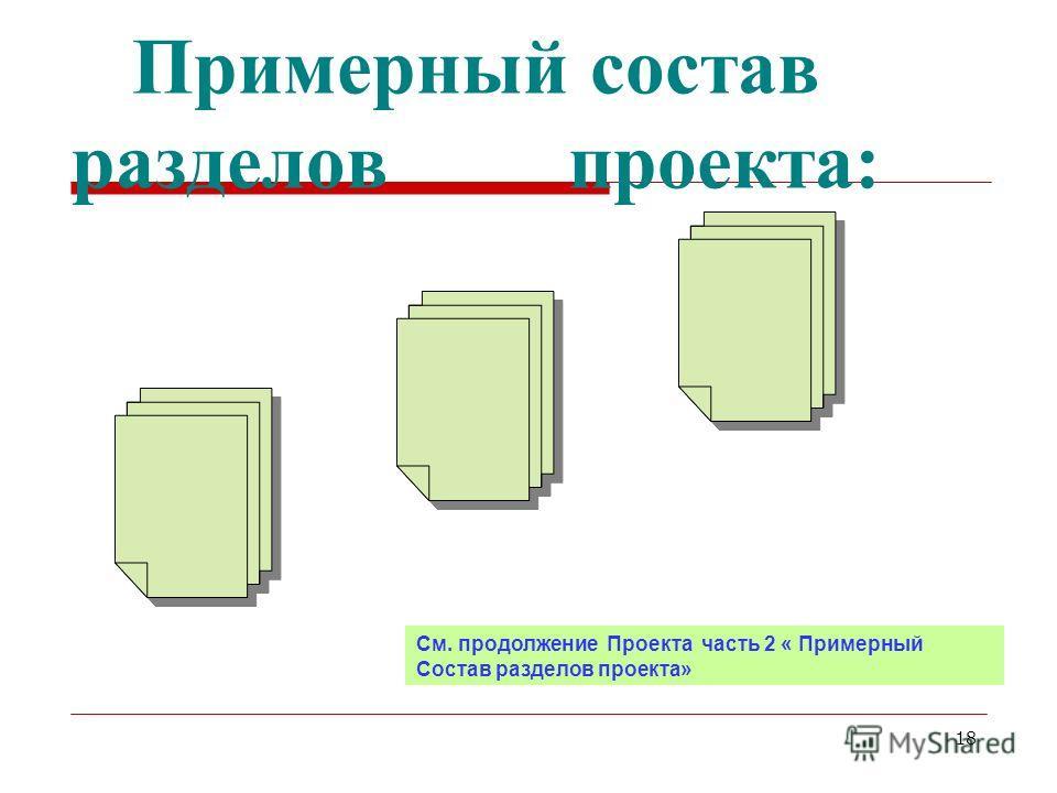 18 Примерный состав разделов проекта: См. продолжение Проекта часть 2 « Примерный Состав разделов проекта»