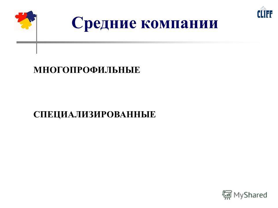 Средние компании МНОГОПРОФИЛЬНЫЕ СПЕЦИАЛИЗИРОВАННЫЕ