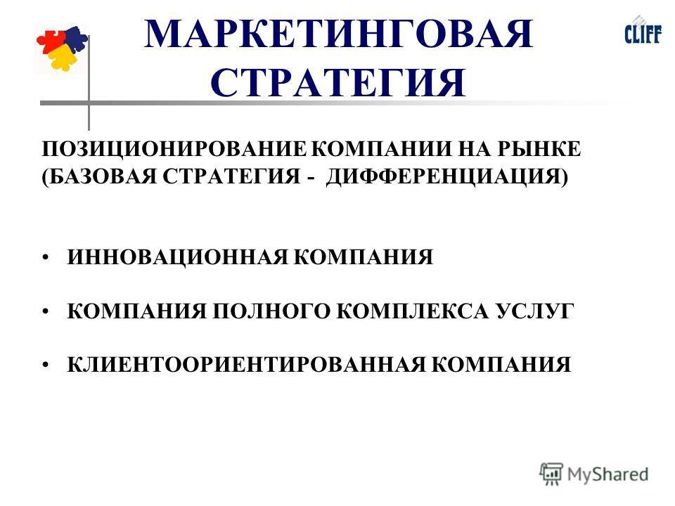 МАРКЕТИНГОВАЯ СТРАТЕГИЯ ПОЗИЦИОНИРОВАНИЕ КОМПАНИИ НА РЫНКЕ (БАЗОВАЯ СТРАТЕГИЯ - ДИФФЕРЕНЦИАЦИЯ) ИННОВАЦИОННАЯ КОМПАНИЯ КОМПАНИЯ ПОЛНОГО КОМПЛЕКСА УСЛУГ КЛИЕНТООРИЕНТИРОВАННАЯ КОМПАНИЯ
