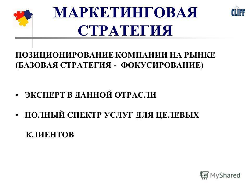 МАРКЕТИНГОВАЯ СТРАТЕГИЯ ПОЗИЦИОНИРОВАНИЕ КОМПАНИИ НА РЫНКЕ (БАЗОВАЯ СТРАТЕГИЯ - ФОКУСИРОВАНИЕ) ЭКСПЕРТ В ДАННОЙ ОТРАСЛИ ПОЛНЫЙ СПЕКТР УСЛУГ ДЛЯ ЦЕЛЕВЫХ КЛИЕНТОВ