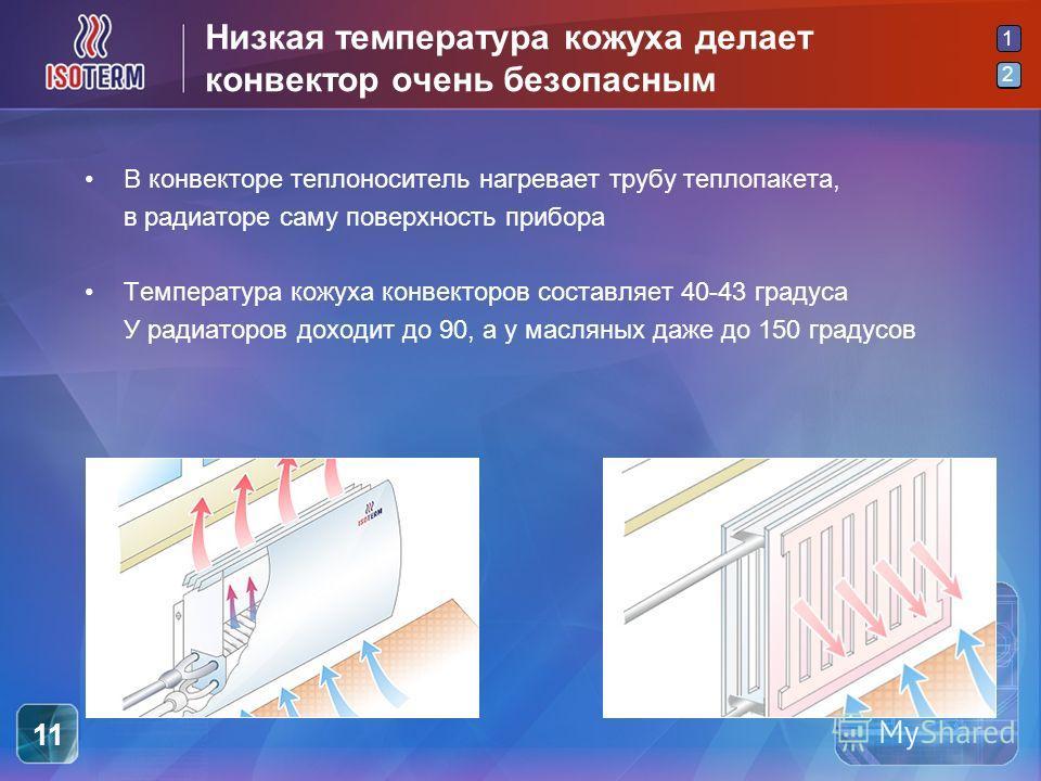 2 1 2 11 Низкая температура кожуха делает конвектор очень безопасным В конвекторе теплоноситель нагревает трубу теплопакета, в радиаторе саму поверхность прибора Температура кожуха конвекторов составляет 40-43 градуса У радиаторов доходит до 90, а у