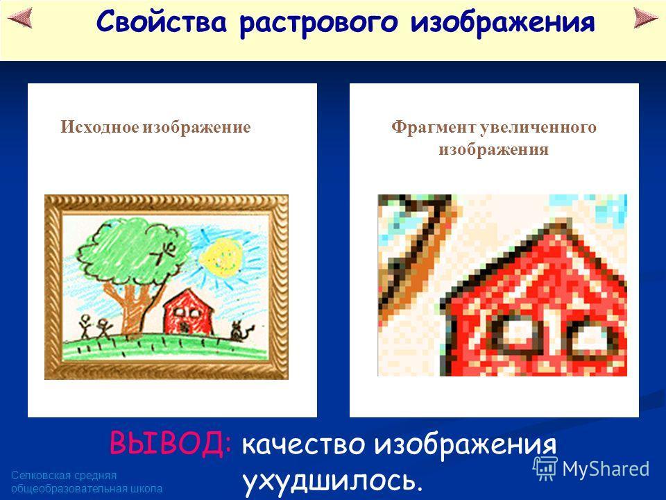 Селковская средняя общеобразовательная школа Свойства растрового изображения Фрагмент увеличенного изображения Исходное изображение ВЫВОД: качество изображения ухудшилось.
