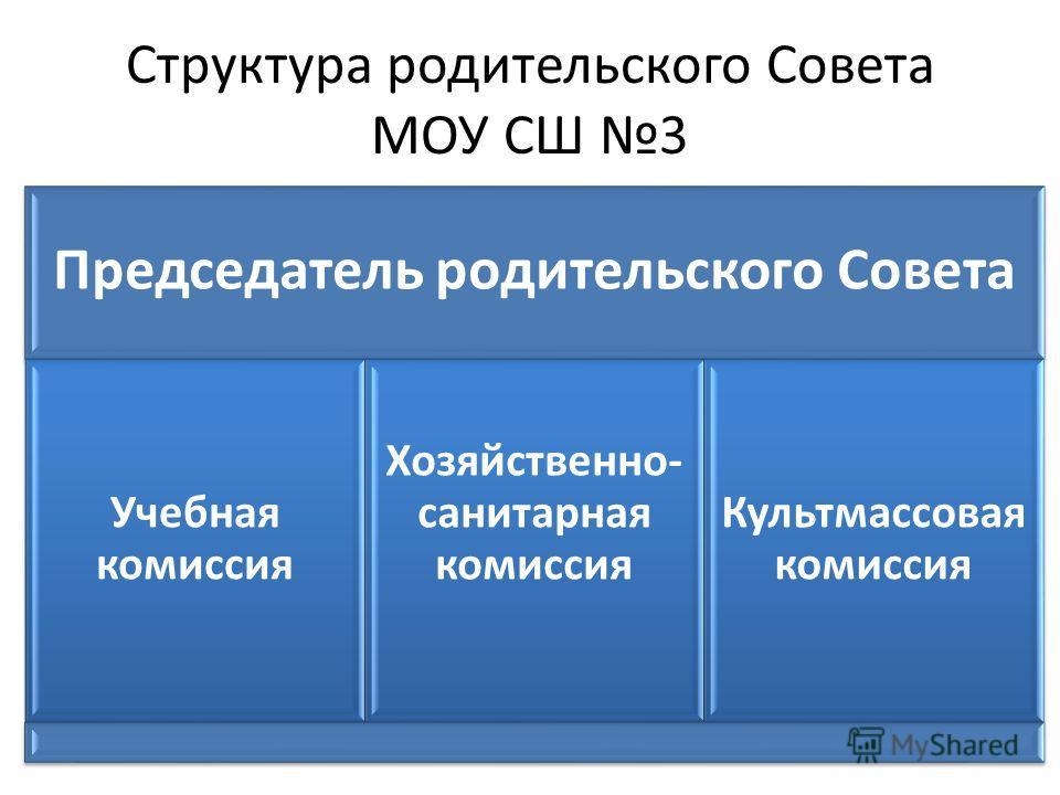 Структура родительского Совета МОУ СШ 3 Председатель родительского Совета Учебная комиссия Хозяйственно- санитарная комиссия Культмассовая комиссия