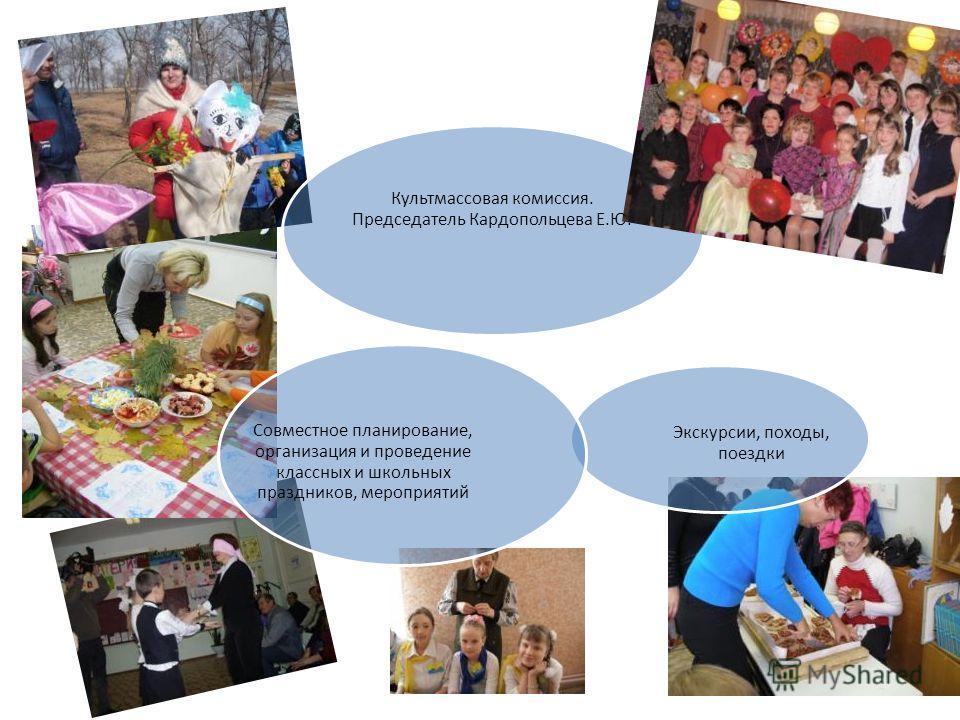 Культмассовая комиссия. Председатель Кардопольцева Е.Ю. Экскурсии, походы, поездки Совместное планирование, организация и проведение классных и школьных праздников, мероприятий