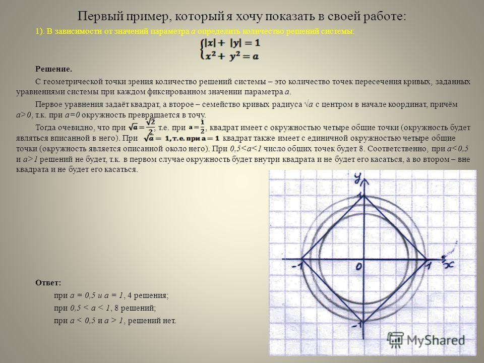 Первый пример, который я хочу показать в своей работе: 1). В зависимости от значений параметра a определить количество решений системы: Решение. С геометрической точки зрения количество решений системы – это количество точек пересечения кривых, задан