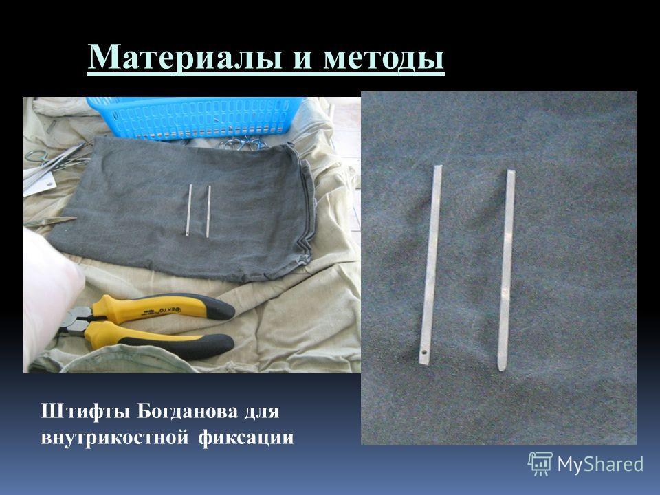 Материалы и методы Штифты Богданова для внутрикостной фиксации