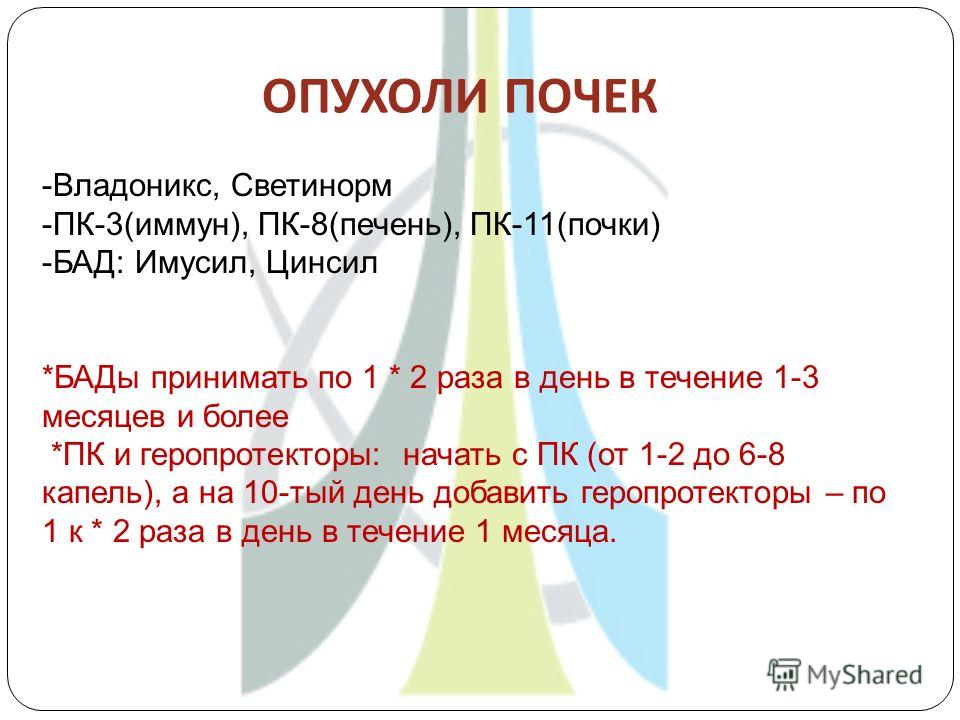 ОПУХОЛИ ПОЧЕК -Владоникс, Светинорм -ПК-3(иммун), ПК-8(печень), ПК-11(почки) -БАД: Имусил, Цинсил *БАДы принимать по 1 * 2 раза в день в течение 1-3 месяцев и более *ПК и геропротекторы: начать с ПК (от 1-2 до 6-8 капель), а на 10-тый день добавить г