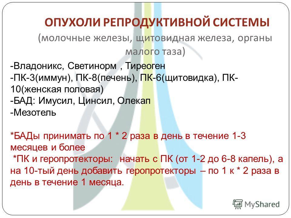 ОПУХОЛИ РЕПРОДУКТИВНОЙ СИСТЕМЫ ( молочные железы, щитовидная железа, органы малого таза ) -Владоникс, Светинорм, Тиреоген -ПК-3(иммун), ПК-8(печень), ПК-6(щитовидка), ПК- 10(женская половая) -БАД: Имусил, Цинсил, Олекап -Мезотель *БАДы принимать по 1