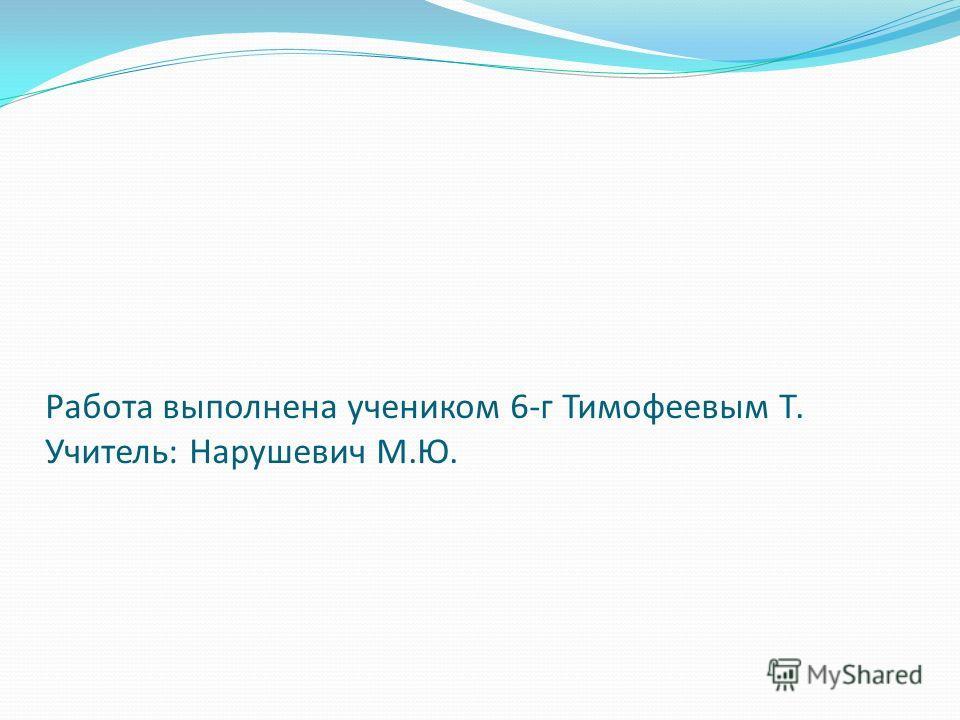 Работа выполнена учеником 6-г Тимофеевым Т. Учитель: Нарушевич М.Ю.
