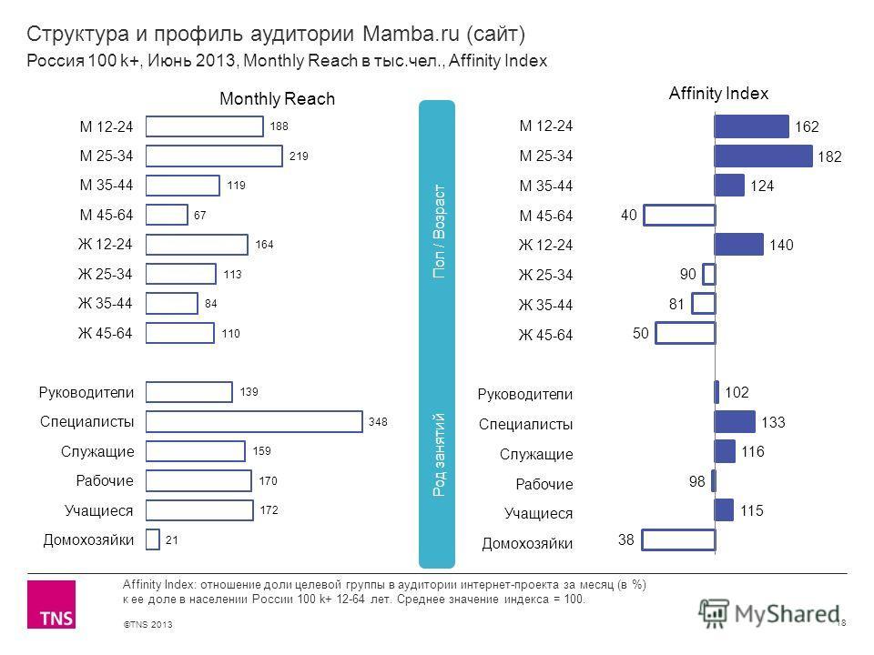 ©TNS 2013 X AXIS LOWER LIMIT UPPER LIMIT CHART TOP Y AXIS LIMIT Структура и профиль аудитории Mamba.ru (сайт) 18 Affinity Index: отношение доли целевой группы в аудитории интернет-проекта за месяц (в %) к ее доле в населении России 100 k+ 12-64 лет.